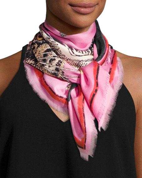 Tiger Face Silk Scarf, Rose