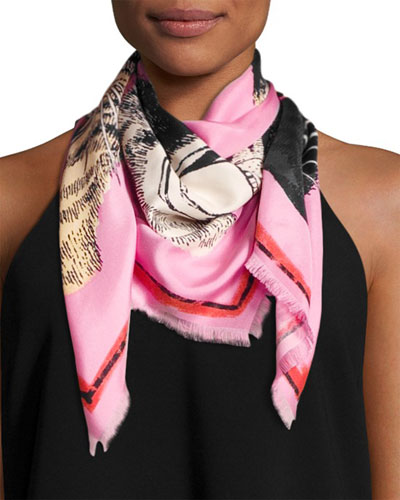 Tiger Face Silk Scarf, Rose