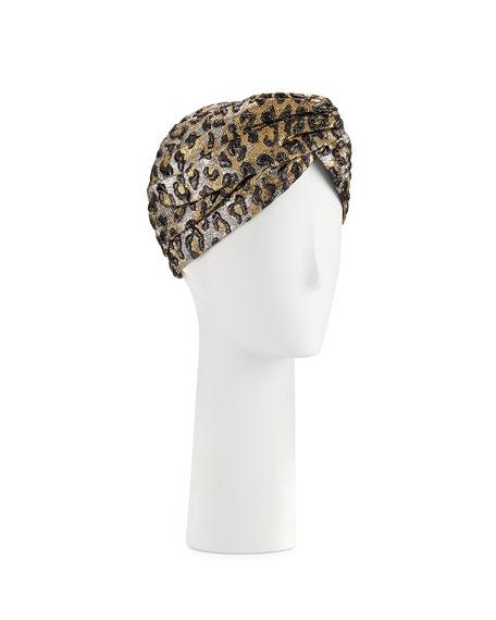 Gucci Metallic Leopard-Print Turban, Gold