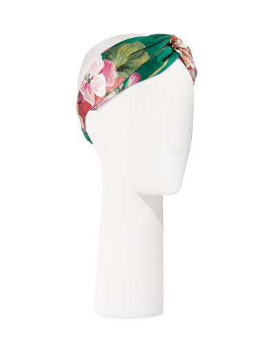 Blooms-Print Silk Headband, Green/Pink