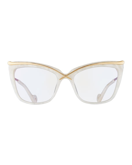 Lusciousness Divine Cat-Eye Optical Frames, Pearl