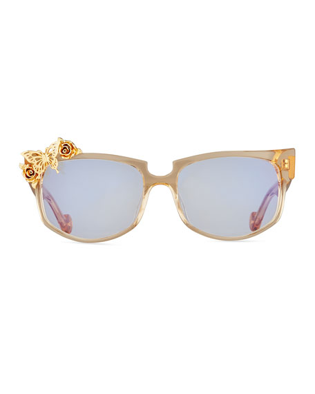 Seeking Summer Transparent Cat-Eye Optical Frames, Beige