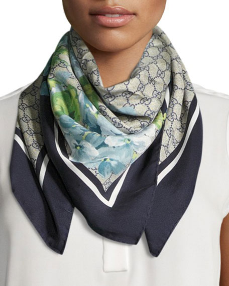 Floral-Print Guccissima Foulard Scarf