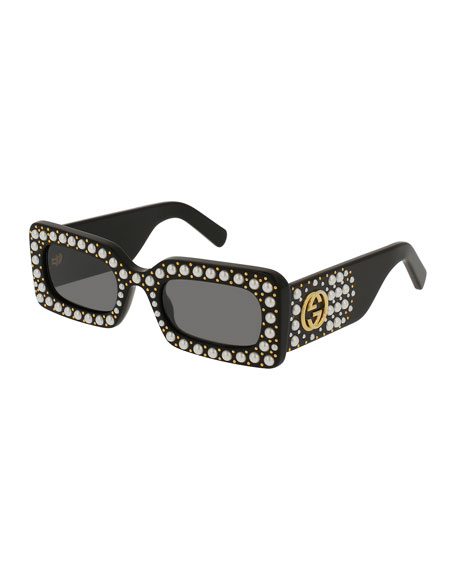 Chunky Studded Square Sunglasses, Black