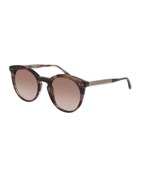 Bottega Veneta Round Gradient Transparent Sunglasses, Brown