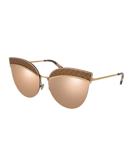 5606bd2e1 Bottega Veneta <em>Intrecciato</em> Cat-Eye Sunglasses