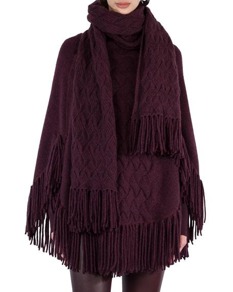 Fringed Cable-Knit Shawl