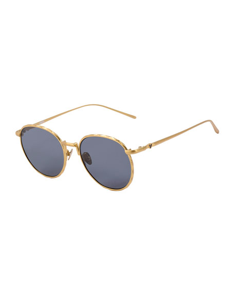 Corpus Round Mirrored Sunglasses, Yellow Gold/Black