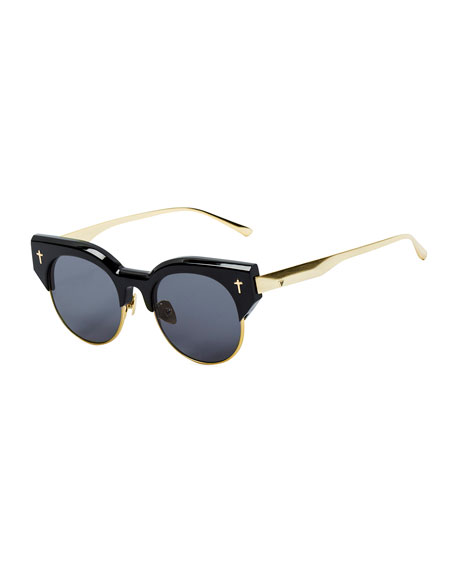 ADCC II Round Semi-Rimless Sunglasses, Black/Gold