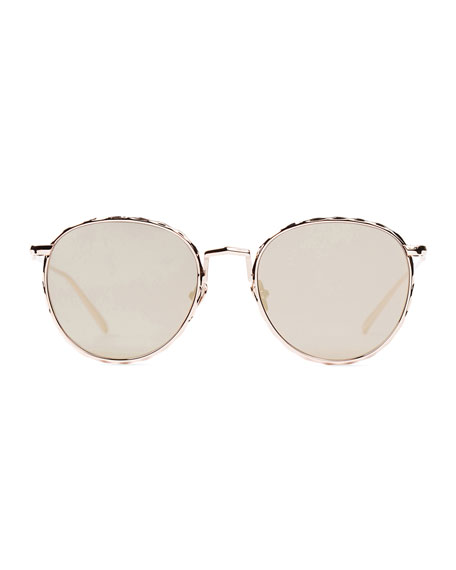 Corpus Round Mirrored Sunglasses, Rose Gold