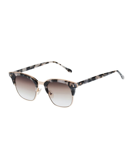 Larynx Square Semi-Rimless Sunglasses, Pink Tortoise/Brown