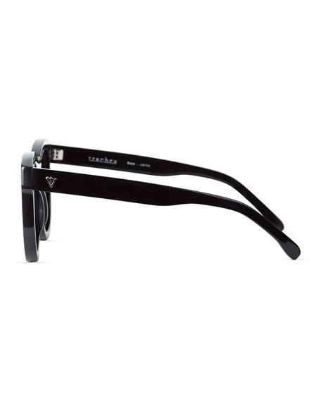 Trachea Monochromatic Butterfly Sunglasses, Black