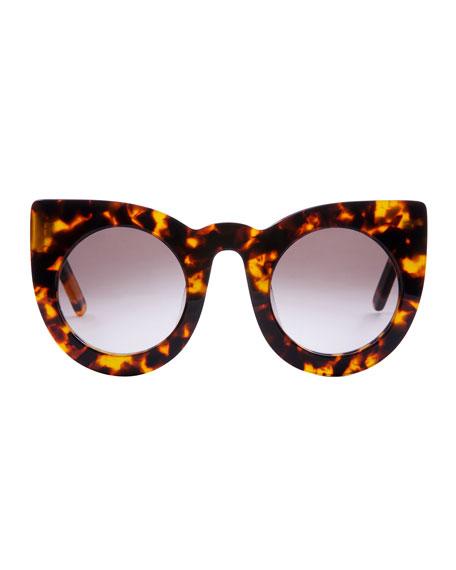 Wolves Gradient Cat-Eye Sunglasses, Brown Havana