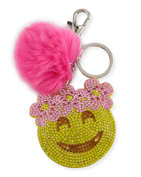Girls' Floral Halo Emoji Fur-Pom Key Chain, Pink/Yellow