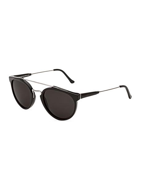 Super by Retrosuperfuture Giaguaro Brow-Bar Sunglasses, Black/Gray