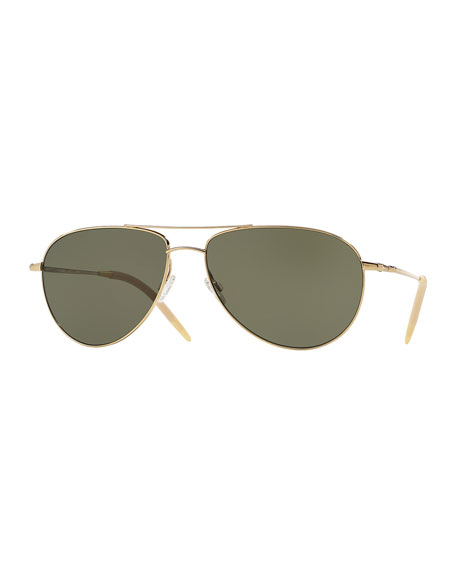 Oliver Peoples Benedict Polarized Aviator Sunglasses, Green