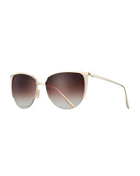 Barton Perreira Devlin Squared Cat-Eye Sunglasses, Gold