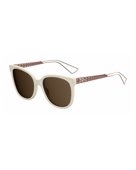 Diorama Caged Monochromatic Sunglasses,Ivory