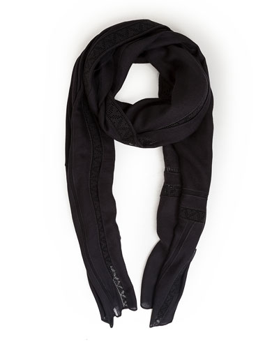 Lace-Trim Knit Scarf, Black