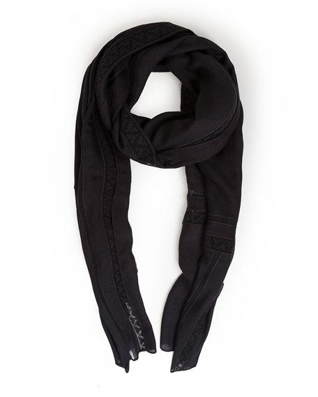 Lace-Trim Knit Scarf, Black