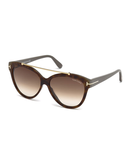 TOM FORD Livia Cat-Eye Brow-Bar Sunglasses, Brown Havana