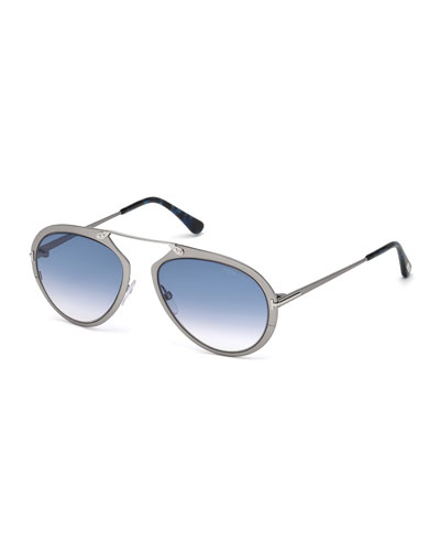 Dashel Brow-Bar Aviator Sunglasses, Gray/Blue