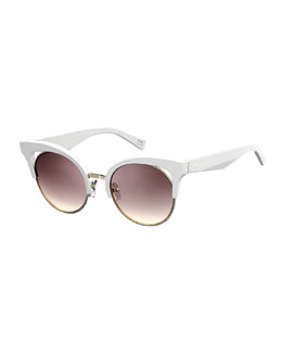 Open-Inset Monochromatic Cat-Eye Sunglasses