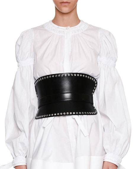 Grommet-Studded Corset Belt, Black