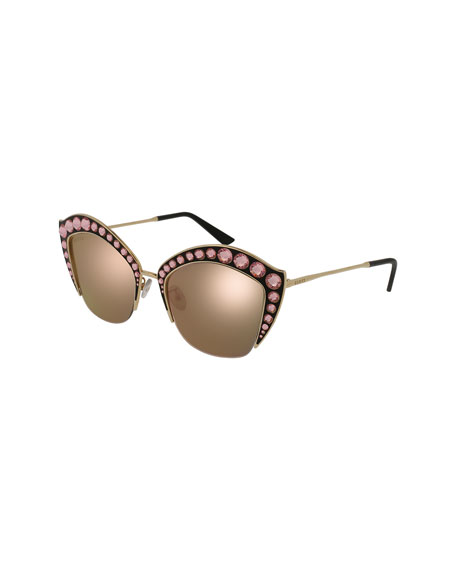Semi-Rimless Swarovski® Cat-Eye Sunglasses