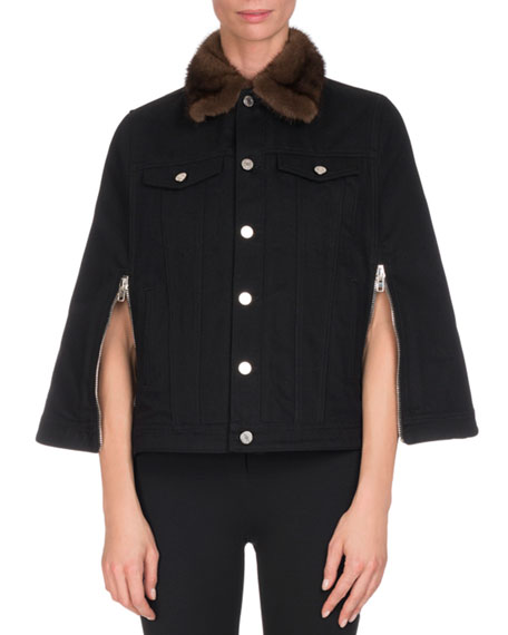 Denim Cape w/Mink Fur Collar, Black