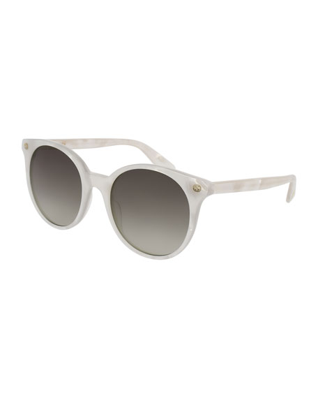 Round Gradient Acetate Sunglasses, White