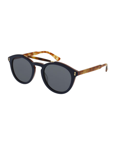 Gucci Round Two-Tone Brow-Bar Sunglasses, Blue/Havana