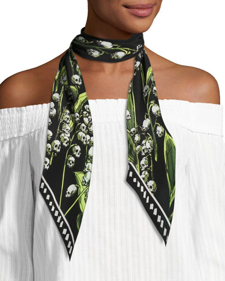 Skull & Flower Print Super Skinny Silk Scarf, Black