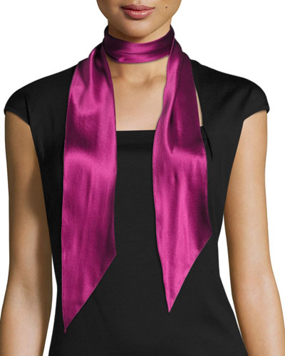 Super Skinny Satin Scarf, Dark Purple