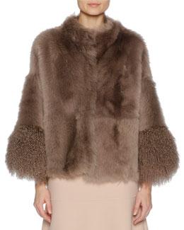 Easy Shearling Fur Cape, Brown