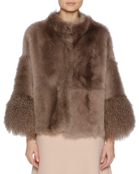 Easy Shearling Fur Cape, Brown