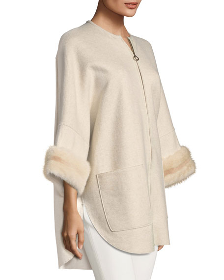 Agnona Cashmere Coat with Mink Fur Cuffs, Brown/White