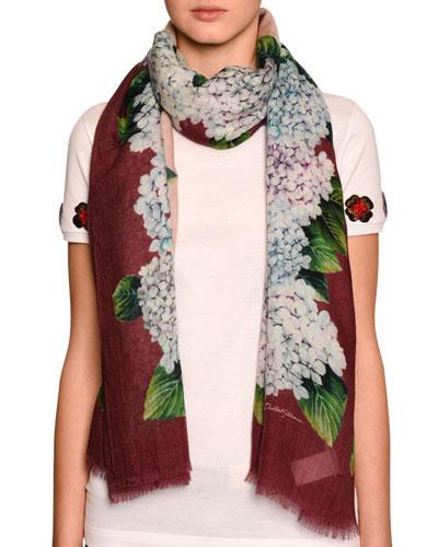 Hydrangea-Print Cashmere-Silk Scarf, Green Pattern