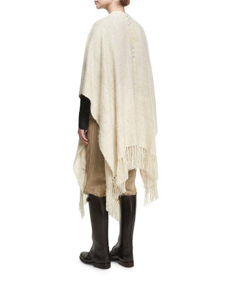Wool Ruana Shawl with Contrast Stitching, White