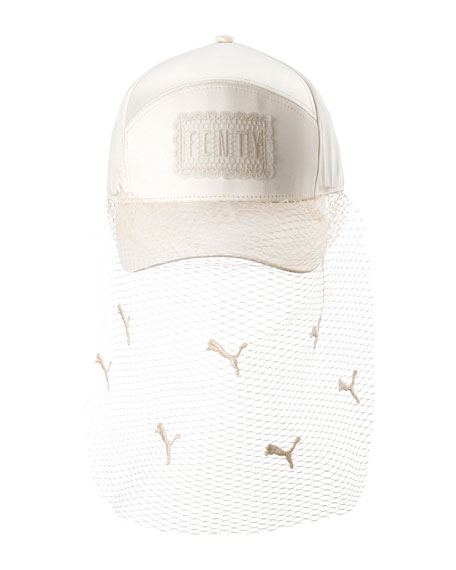 hot sale online 17b33 803b6 Fenty Puma by Rihanna Parisian Net Veil Baseball Hat, White
