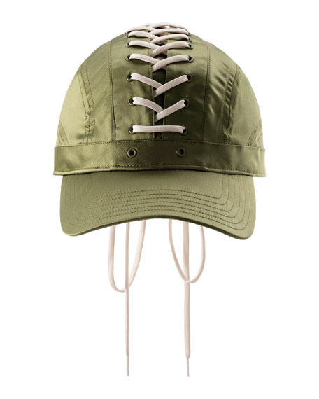 Lace-Up Baseball Hat, Green