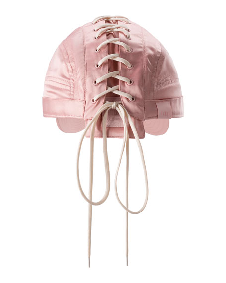 Lace-Up Baseball Hat, Pink/White
