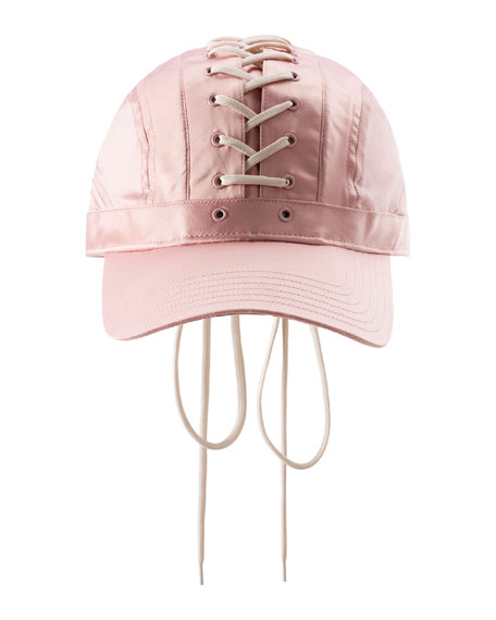 Lace-Up Baseball Hat, Pink/White