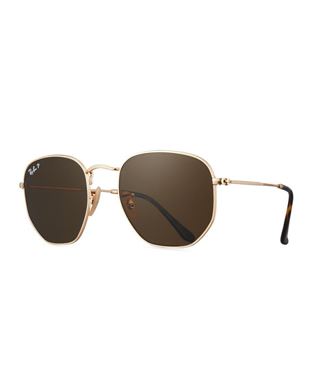 Ray-Ban Polarized Hexagonal Metal Sunglasses