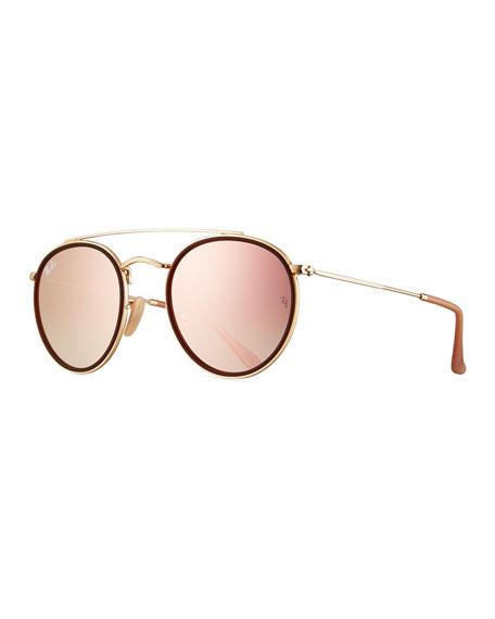 Ray-Ban Round Double-Bridge Flash Sunglasses
