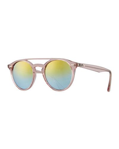 Round Mirrored Brow-Bar Sunglasses