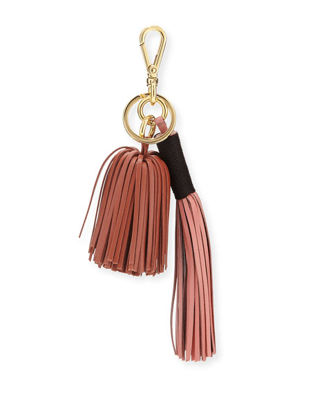 Leather Tassel Key Chain/Bag Charm, Pink