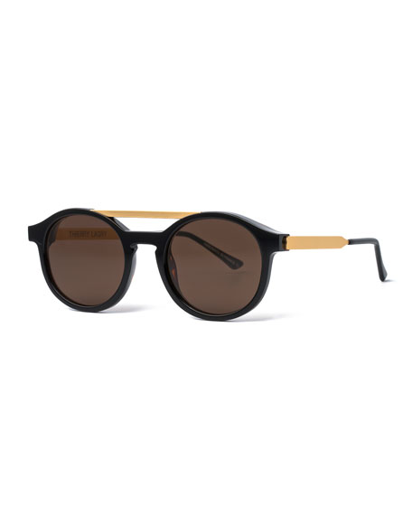 Fancy Round Brow-Bar Sunglasses, Black