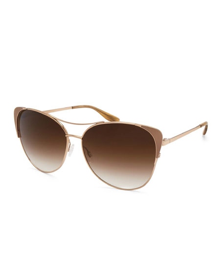 Barton Perreira Raphina Cat-Eye Aviator Sunglasses, Smoky