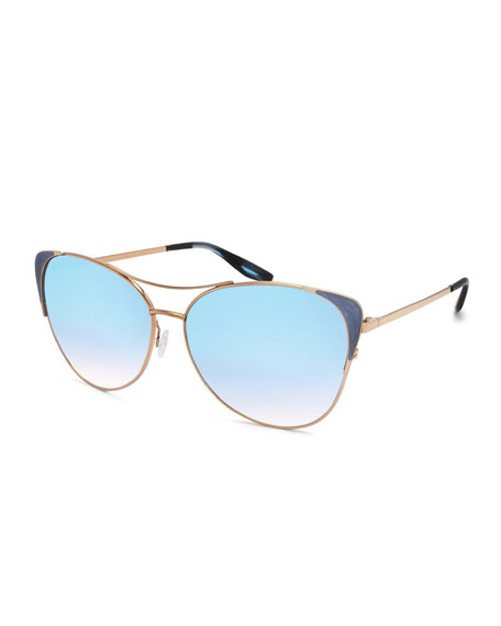 Barton Perreira Raphina Mirrored Cat-Eye Aviator Sunglasses,